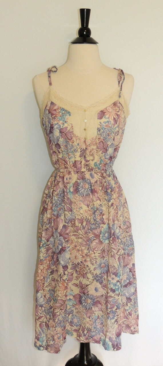 Vintage 70s FLORAL DRESS Lace and Spaghetti Straps Deadstock