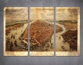 """Vintage Map of New York 1866 on METAL Triptych 36x24"""" FREE SHIPPING"""