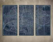 """Old Map of Paris METAL Triptych White on Blue 36x24"""" FREE SHIPPING"""