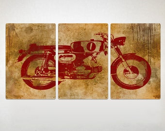"Vintage Motorcycle METAL triptych 48x24""  FREE SHIPPING"