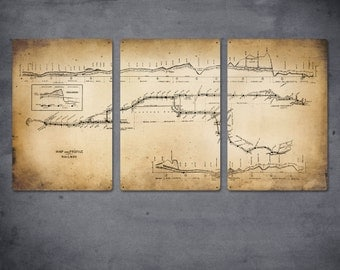 "Vintage New York Subway and Rail Map METAL Triptych 48x24""  FREE SHIPPING"