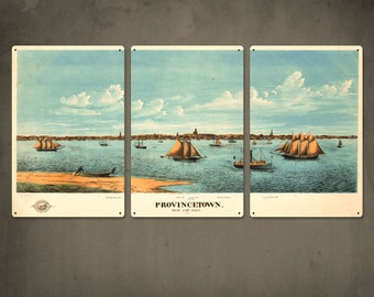 Vintage Provincetown Sailboats Triptych on METAL 48x24 FREE SHIPPING