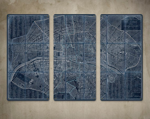 "Old Map of Paris METAL Triptych White on Blue 36x24"" FREE SHIPPING"