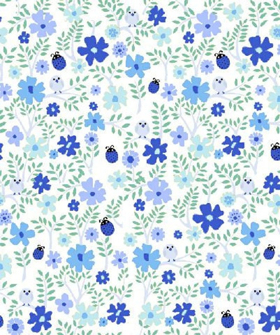 Blue Floral from 1 2 3 Play With Me by Stof Euro Designs  - Half Yard