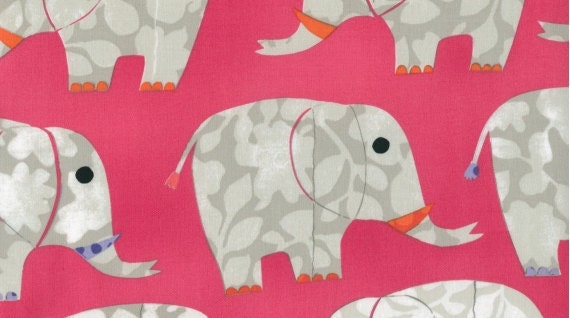 Elephants on Peony from Play Date by Dear Stella- Half Yard