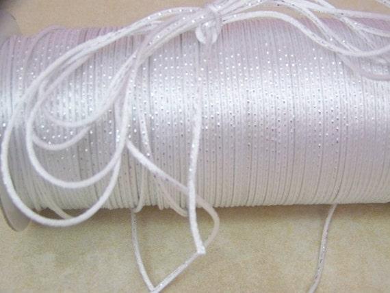 10 Yards of Metallic White/Silver Rat Tail Cord - 2mm