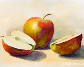 Vintage style Apples original watercolor