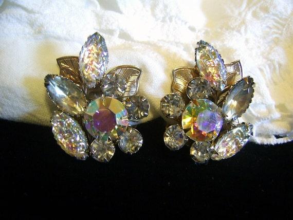 Vintage Judy Lee AB Rhinestone and Art Glass Navette  Earrings