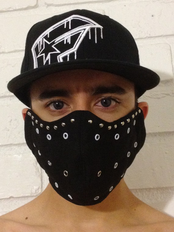 Black Ninja Mask With White Grommets For Easier Breathing
