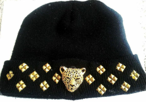 black and gold studded jaguar beanie. Black Bedroom Furniture Sets. Home Design Ideas