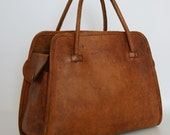Authentic vintage 1970s thick real leater handbag, Norris, Made in England