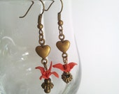 Origami crane earrings - Antique Brass heart and origami crane chain earrings