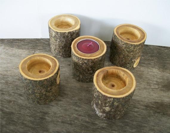 Tea Light Wood Candle Holders Set of 5 Rustic Wedding Decor Table Decoration Tealight Candle Holders