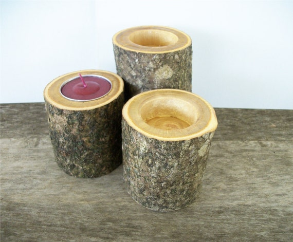 Rustic Wood Candle Holders Tealight Set of 3 Table Decoration 2 Sizes Tea Light Rustic Wedding Decor