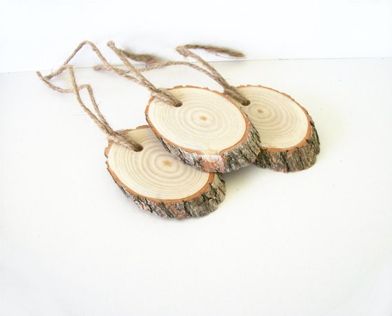 3 Sassafras Wood Gift Tags Ornaments Angle Cut Oval Wood Slices Pendants with Jute