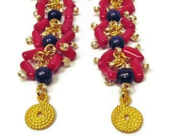 Women's earrings-women's jewelry-lapis earrings-gemstone earrings-dangle earrings-red earrings-coral earrings-long earrings
