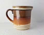 Rustic Drip Glaze Vintage Pottery Jug Warm Earth Tones Farmhouse Ashdale Made in England Brown and Cream