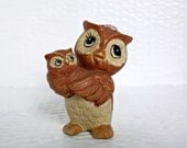 Vintage Owl Mother and Baby Ornament Retro Woodland Decor Cute Mama Bird Figurine
