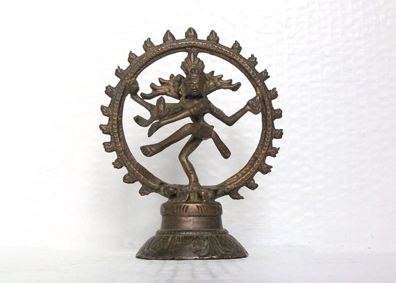 Vintage Brass Shiva Hindu God Nataraja Ornament India Deity Spiritual Asia Brown Figurine