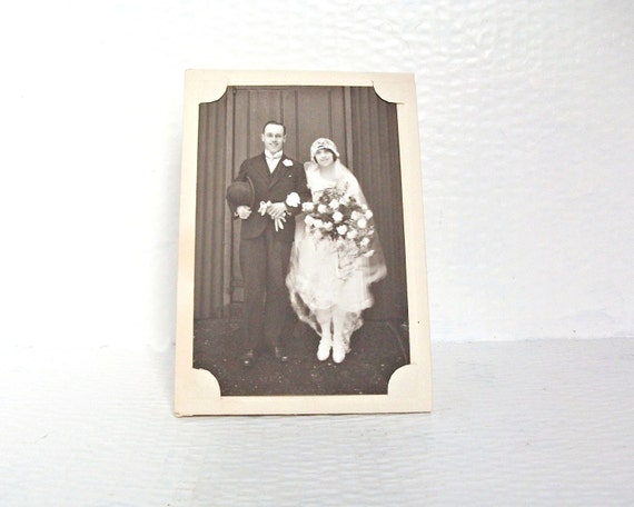 Antique Flapper Wedding Photo Postcard Twenties Fashion Vintage Ephemera Sepia Photograph