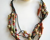 Statement Tribal Assymetric Knotted Necklace Ceramic Wooden Beads OOAK