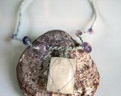 Hand Knotted Macrame Gemstone Necklace OOAK - Rainbow Moonstone Amethyst Beads
