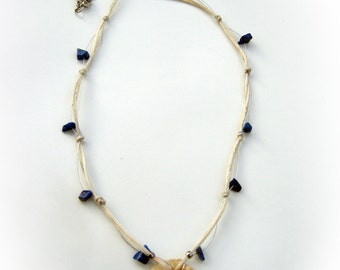Waxed String Necklace, Fossil Pendant, Lapis Lazuli Chip Beads