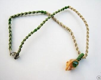 Macrame Necklace Seashell Pendant Square Glass Bead