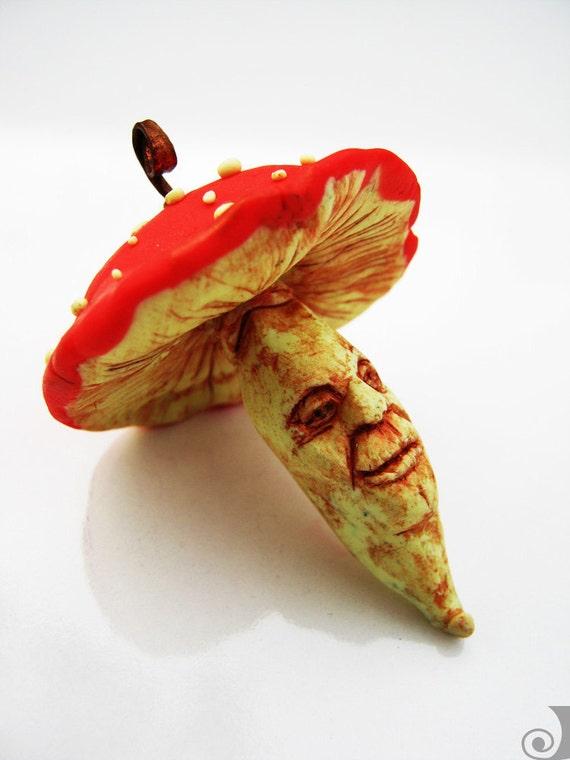 Amanita Muskaria - Hand Made Magic Mushroom Polymer Clay Miniature Sculpture OOAK