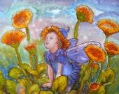 Fairy Peter Original silk painting Silk art, Silk wall art