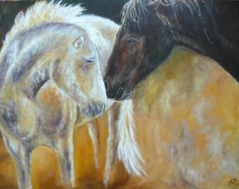 Horse love large oil painting Horse art Animal painting