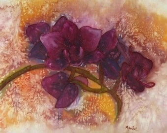 Purple orchids - floral silk painting, carmine, burgundy, red-violet