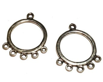 2 Sterling Silver Hoops with 5 Loops, Sterling Silver Ear Wire
