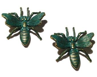 1 Antique Brass Patina Bugs, 27 mm