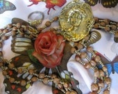 Vintage Peach Butterfly scarf, Wood Bead necklace, Cameo, Ring and Rose Stick Pin