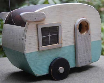 Birdhouse Trailer - Shasta Bird house - Blue/White birdhouses