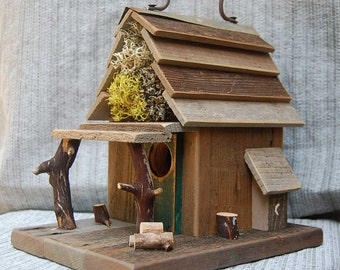 Rustic  Birdhouse with Porch - Natural Barn Wood bird house