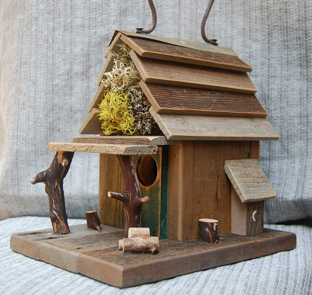 Rustic birdhouse with porch natural barn wood bird house for Bird home decor