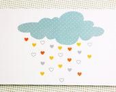 Nursery decor, nursery wall decal, Heart Cloud Printed Card, sweet card, love card, Greeting cards, gold heart, children's print, love cards
