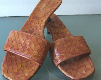Sesto Meucci Woven Slide Sandals Made in Italy 8M