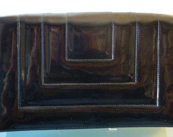 Vintage Patent Leather Black Shoulder Bag Purse
