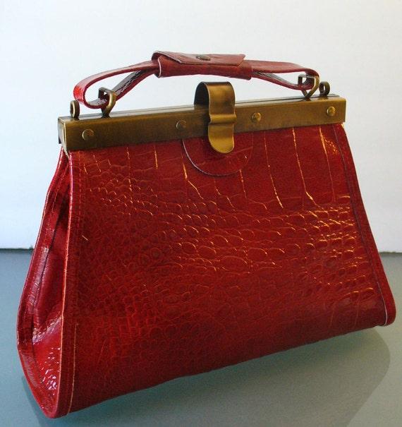 Red Alligator Embossed Made in Italy Handbag