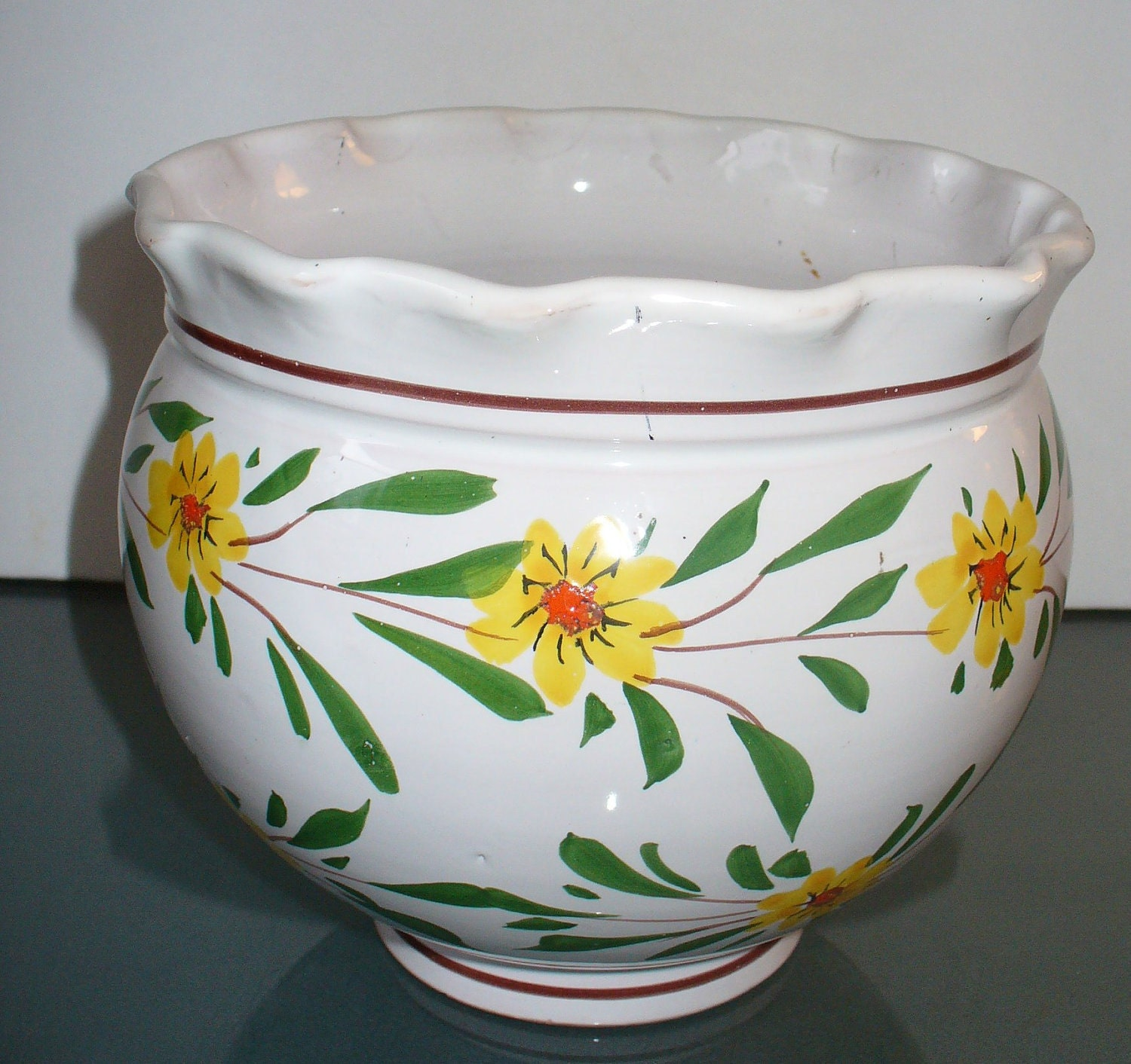 Items Similar To Vintage Made In Italy Ceramic Flower Pot