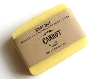 Carrot Soap Bar, Sensitive Skin Soap, Homemade Soap, Cold process Soap, All Natural Soap, Unscented Soap, Vegan Soap, Handmade Soap