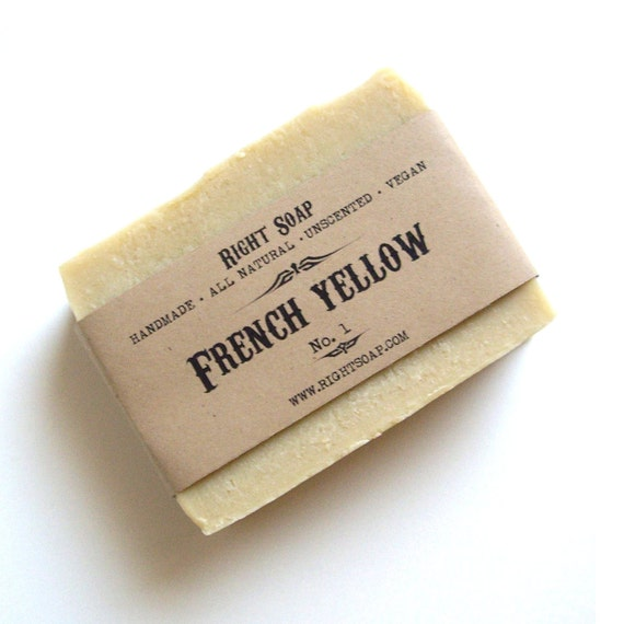 French Yellow Soap Bar, Detox soap, all natural soap Valentine gift men gifts,  cold process soap, vegan soaps