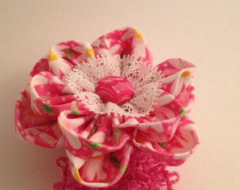 Pink and white waffle Hairband