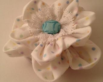White Confetti Polka Dot Ponytail
