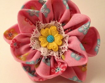 Pink and Yellow Flower Ponytail