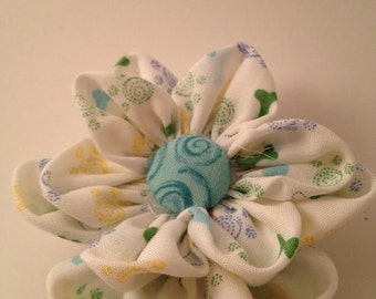White and Blue Doggy print Flower Ponytail