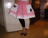 Handmade Freda Scottish Terrier/Scottie Dog Apron Pink, White and Black